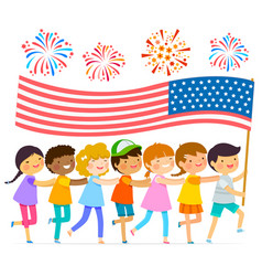 Kids with the american flag vector