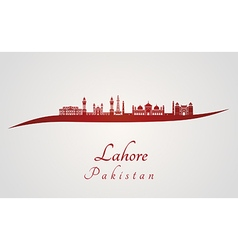 Lahore skyline in red vector image vector image