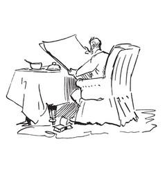 Man reading newspaper breakfast vintage engraving vector