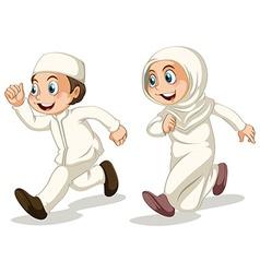 Muslim kids vector image vector image