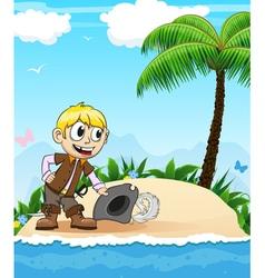 Pirate on a desert island vector