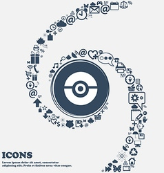 Pokeball icon in the center around the many vector