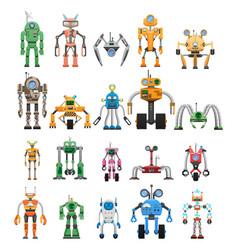 Robots set modular collaborative android machines vector