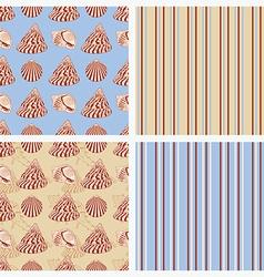 Seamless sea vintage background with seashells vector