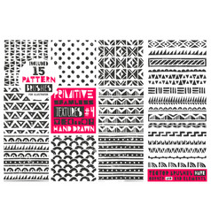 set of 8 primitive geometric patterns collection vector image vector image