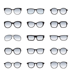 set of black glasses icons vector image vector image
