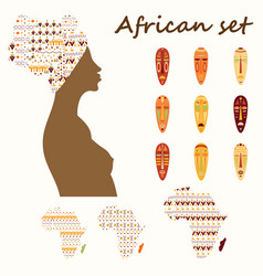 Set of colored ethnick african woman masks vector
