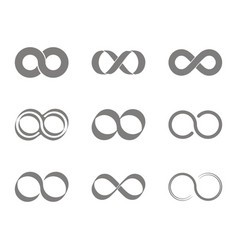 set of monochrome icons with infinity symbols vector image vector image