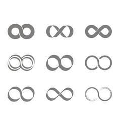 Set of monochrome icons with infinity symbols vector