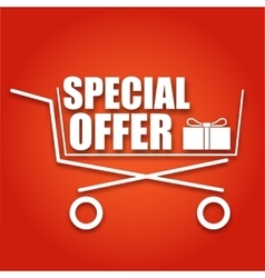 Special offer sale banner Shopping cart on red vector image