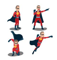 superhero actions cartoon character set vector image vector image