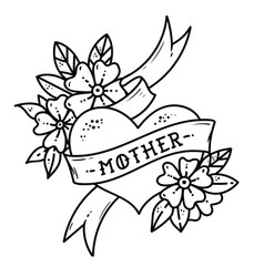 Tattoo heart with ribbonflowers and word mother vector
