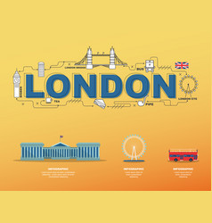 traveling in london with landmark icons on yellow vector image vector image