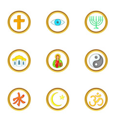 Types of religion icons set cartoon style vector