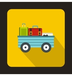 Luggage cart with suitcases icon flat style vector