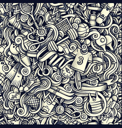 Graphic sport hand drawn artistic doodles seamless vector