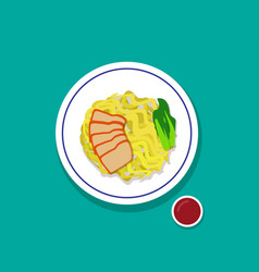 Dry egg noodle soup with red roast pork top view vector