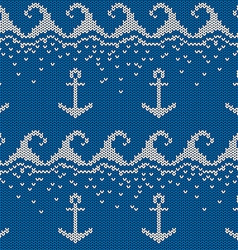 Knitted seamless pattern with anchor vector