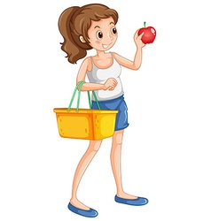 Woman shopping fresh ingredient vector