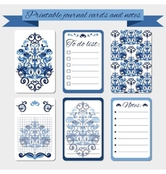 Printable notes journal cards labels with blue vector