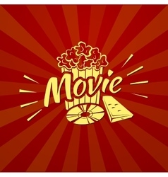 Watching a movie typography vector
