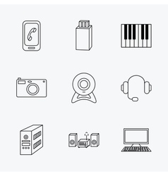 Photo camera headphones and usb flash icons vector