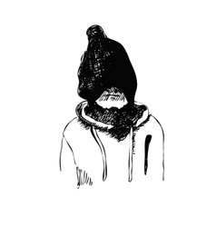 Hand drawn sketch of kid in winter hat vector