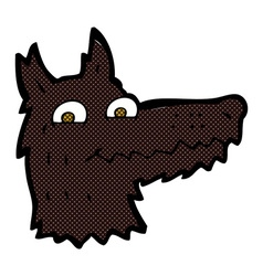 Comic cartoon wolf head vector