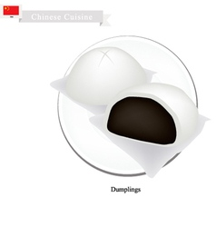 Dumpling chinese steamed bun and black bean stuff vector