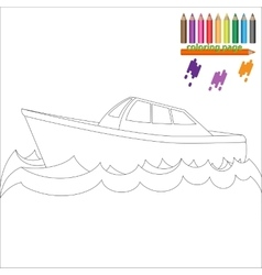 Coloring page with sea ship vector