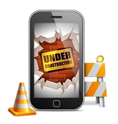 Mobile phone under construction vector