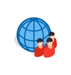 Planet and people icon isometric 3d style vector