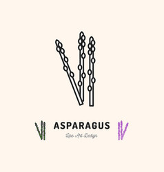 asparagus icon vegetables logo thin line art vector image vector image