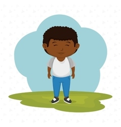 cartoon boy meadow green vector image vector image