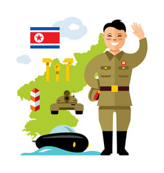 concept north korea flat style colorful vector image