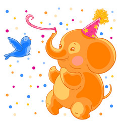 festive joyful cute elephant and the bird are vector image