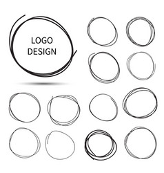 hand drawn circles for logo design vector image vector image