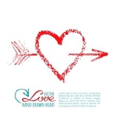 Handwritten lipstick heart and arrow vector
