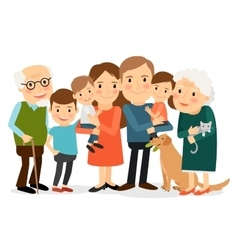 Happy big family portrait vector