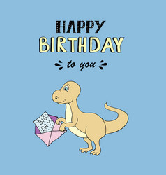 happy birthday lettering party with baby dino vector image vector image
