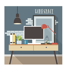 modern workplace interior in loft style vector image