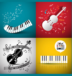 Music backgrounds with violin and piano keyboard vector