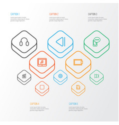 Music outline icons set collection of empty vector