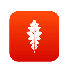 oak leaf icon digital red vector image