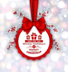 Round Banner with Red Ribbon and Bow for Happy New vector image