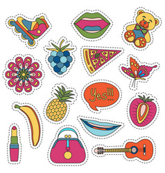 set of fashionable cute patches elements vector image vector image