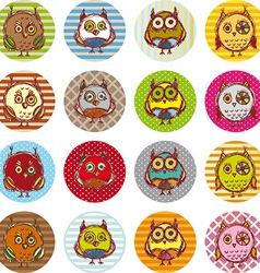 Set of funny owl sketch doodle vector