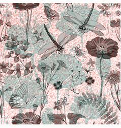 Summer seamless pattern botanical vector