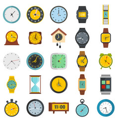 time and clock icons set flat style vector image