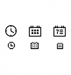 time and date icons vector image vector image